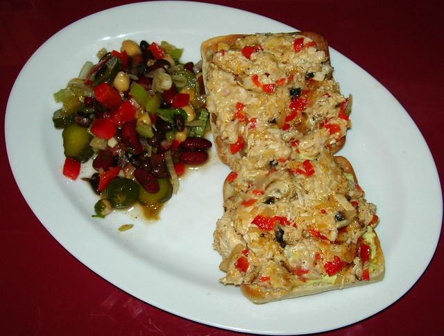 Chicken Melt Sandwich and Cuban Bean Salad