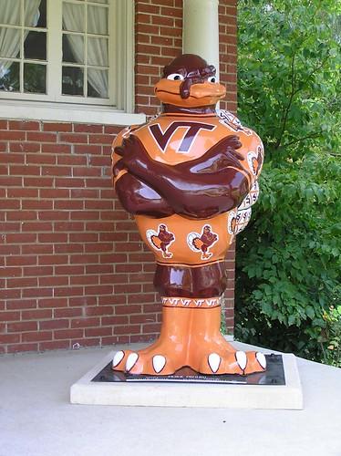 A Fiberglass Statue of a Hokie bird