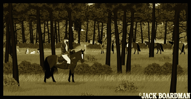 AJ & Dogs, Wolves, Flutters & Karma defeat the outlaws ©2012 Jack Boardman