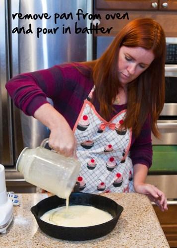 pour batter into warm pan