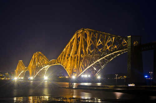 Forth Bridge lit up