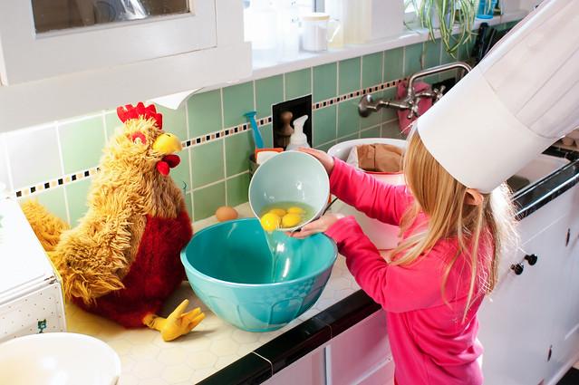 sadie and chickener in kitchen 2