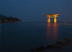 The symbolic Torii off the shores of Miyajima.