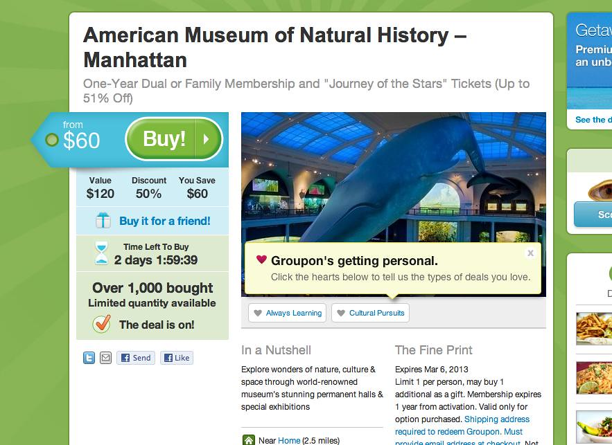 Natural History Museum New York Groupon