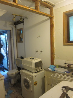 The laundry/bathroom area with dividing wall and doorway removed