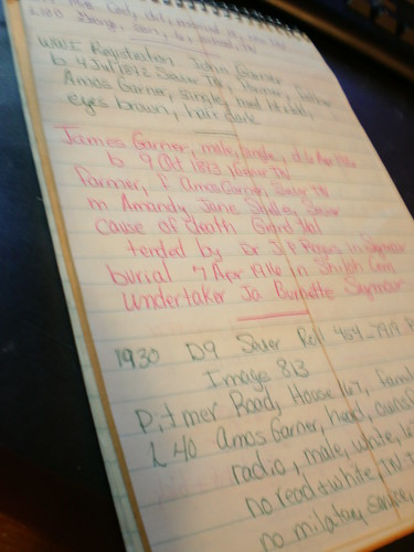 notes made in green and pink on a steno pad page