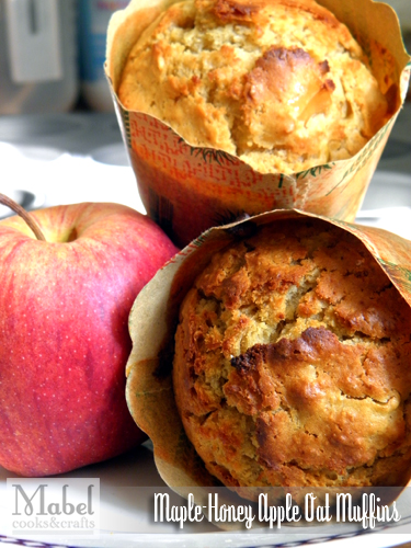 Maple-Honey Apple Oat Muffins