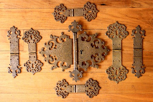 old engraved brass hardware by denise carbonell