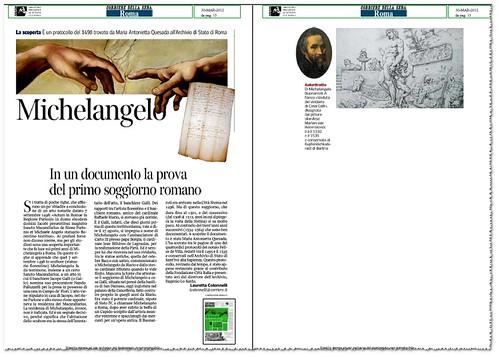 ROMA - ARCVHIVIO DI STATO: MICHELANGELO - In un documento la prova del primo soggiorno romano. Corriere Della Sera (30/03/2012), p. 15. by Martin G. Conde