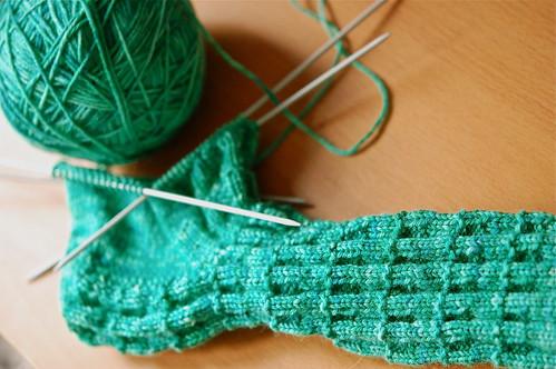 Green socks in progress