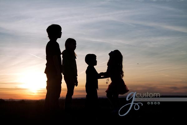my kids at sunset