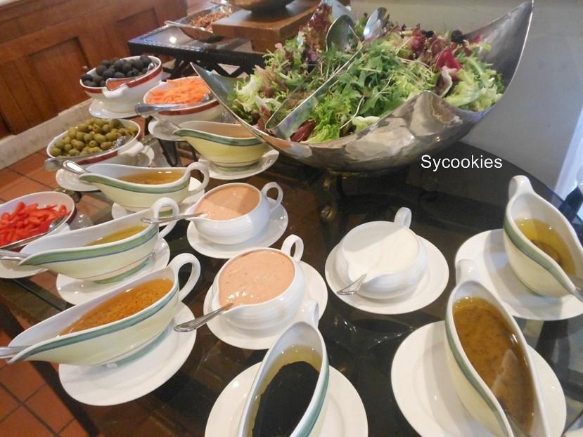 9.green salad condiments..beet root, black olive, carrot, stuff olive, gerkin, young corn, mix capsicum