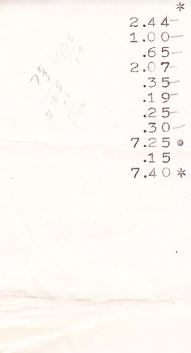 1964 pattern, fabric and notions receipt