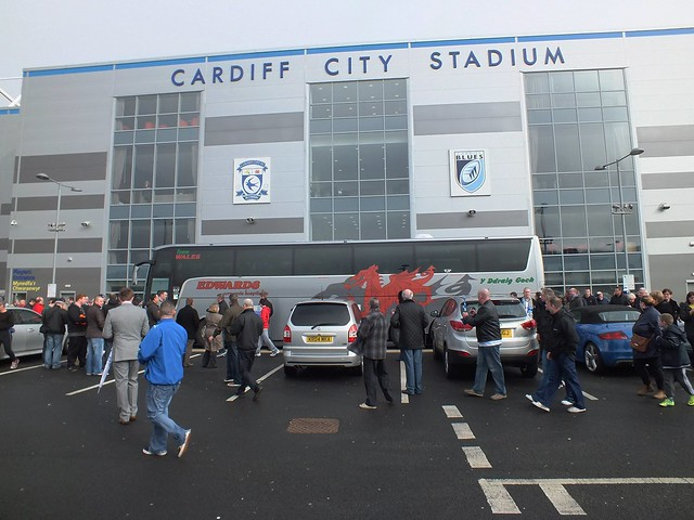 Cardiff City team leaving for Wembley