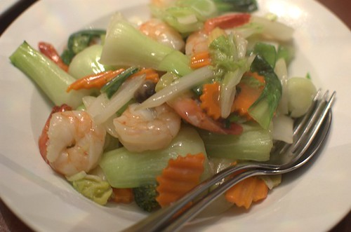 Stir-fried prawns w/ vegetables