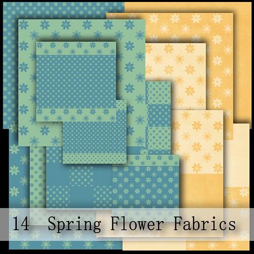 14 SPRING FLOWER FABRICS FREE GIFT