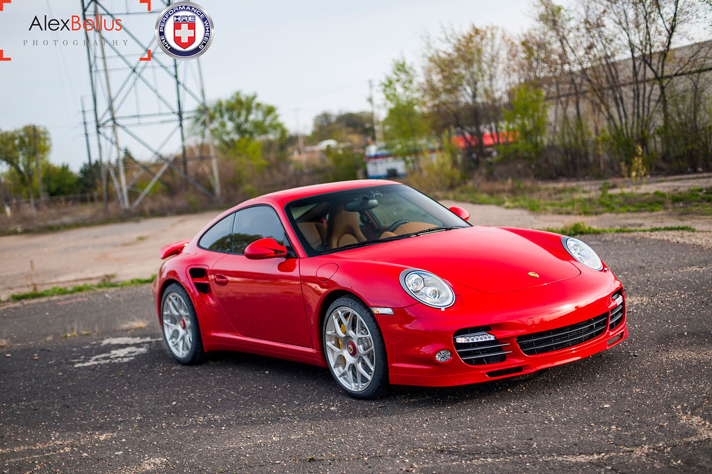 Red Porsche 997 Turbo On HRE P40SC Centerlock Brushed