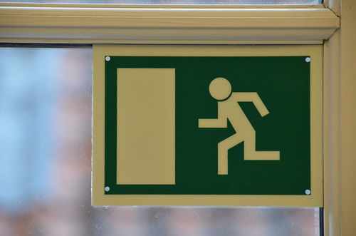 exit sign runner fluorescent