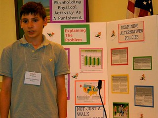 A student gives a presentation about the benefits of physical activity.