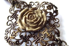 Filigree connector: Antique Gold Polymer Clay on Antique Brass