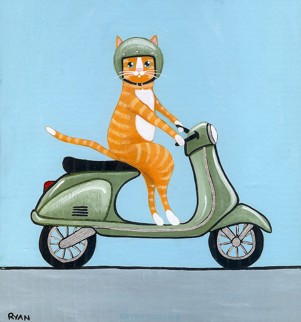 tabby on a Vespa