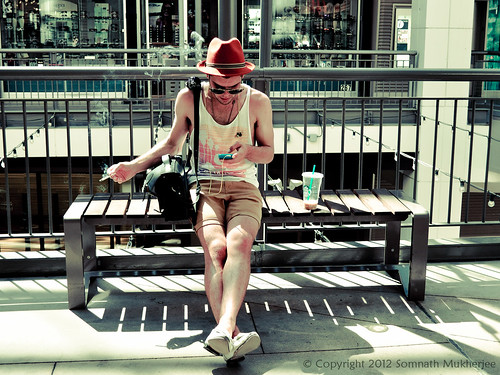 Little rest with music and smoke   16th Street Mall   Denver, CO by Somnath Mukherjee Photoghaphy
