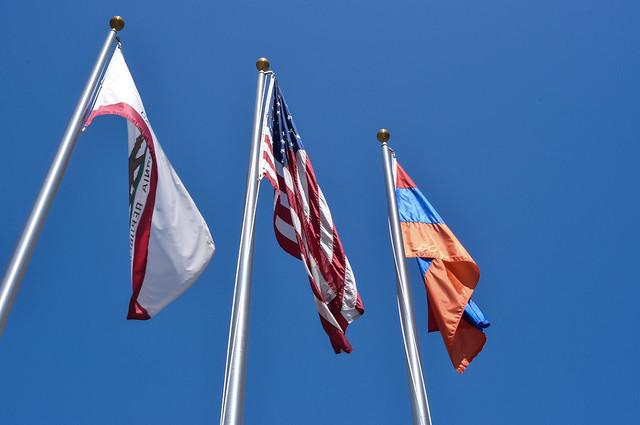 CA, USA, Armenian flags in Glendale