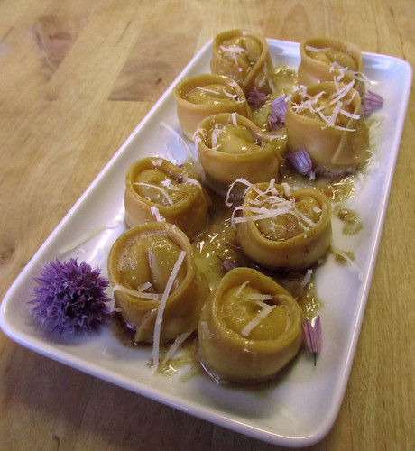 Chive flower tortelloni