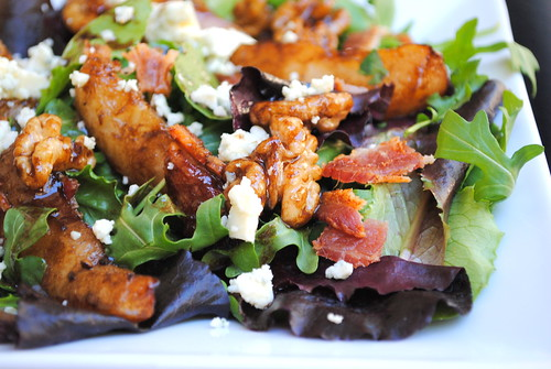 Pan-fried balsamic pear salad with pancetta, gorgonzola and a warm honey dressing