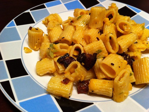 creamy corn pasta with bacon