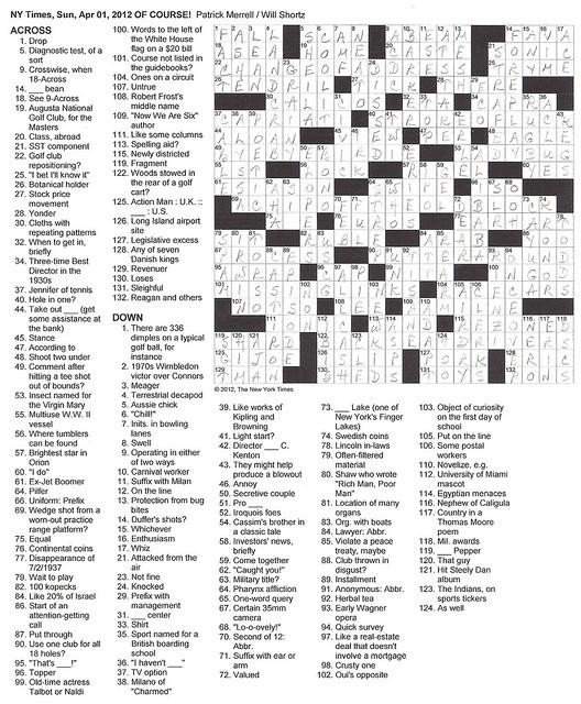 NYT Sunday Puzzle - April 1, 2012
