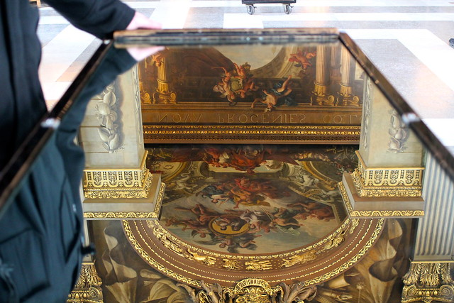 Mirror table so you don't strain your neck at the Painted Hall