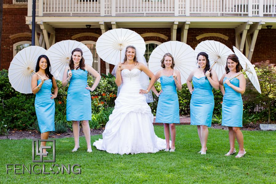 Bride with Bridesmaids & Parasols | Sarah & Alex's Wedding | Sacred Heart Cultural Center | Augusta Destination Wedding Photographer