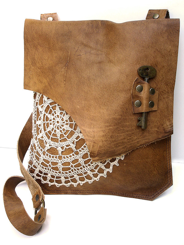 Boho Leather Messenger with Vintage Crochet Doily & Antique Key