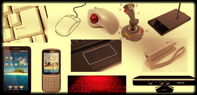 input devices, phone, tablate, keyboard, mouse, trackball, wii, projection, t9, qwerty, kinect
