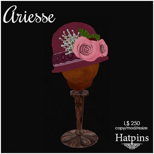 Hatpins - Ariesse Cloche Hat - Magenta