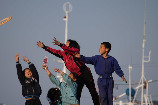 Frisbee at the Wonson Docks North Korea