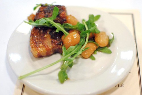 plated pork belly