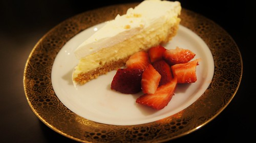 Cheese Pie with Egg Kichel Crust and Strawberries