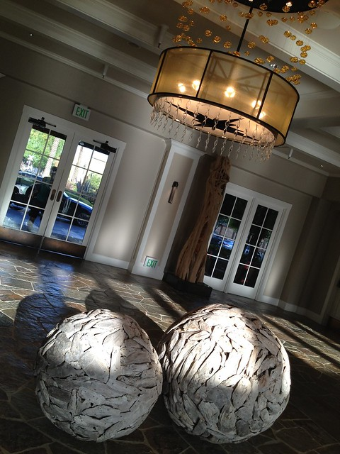 Wooden spheres, The Lodge at Sonoma