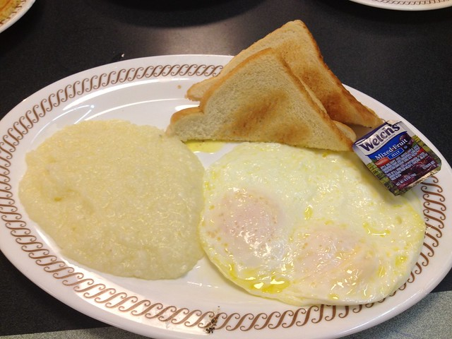 2 eggs over medium, grits, white toast - Waffle House