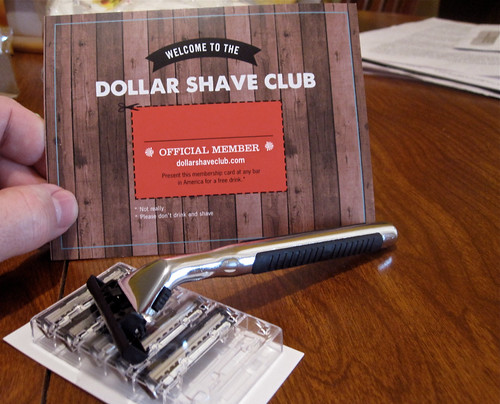 Dollar Shave Club - Welcome card with razor and blades