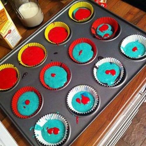 Into the oven now #rainbowcakes #rainbow #cakes