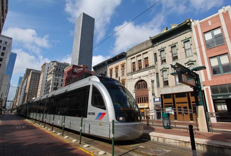 Metrorail line, Main St., Houston TX
