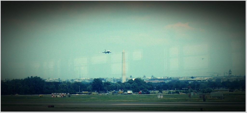 Plane Flying by Washington Monument