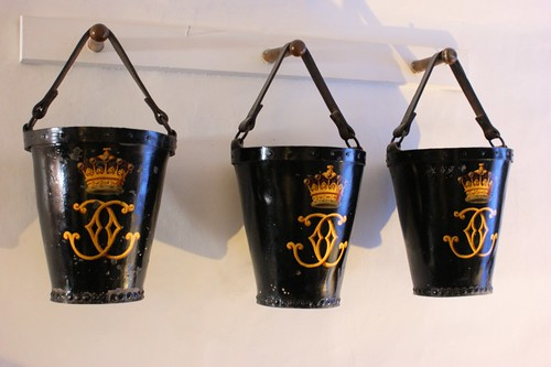 Leather fire buckets, Cawdor Castle