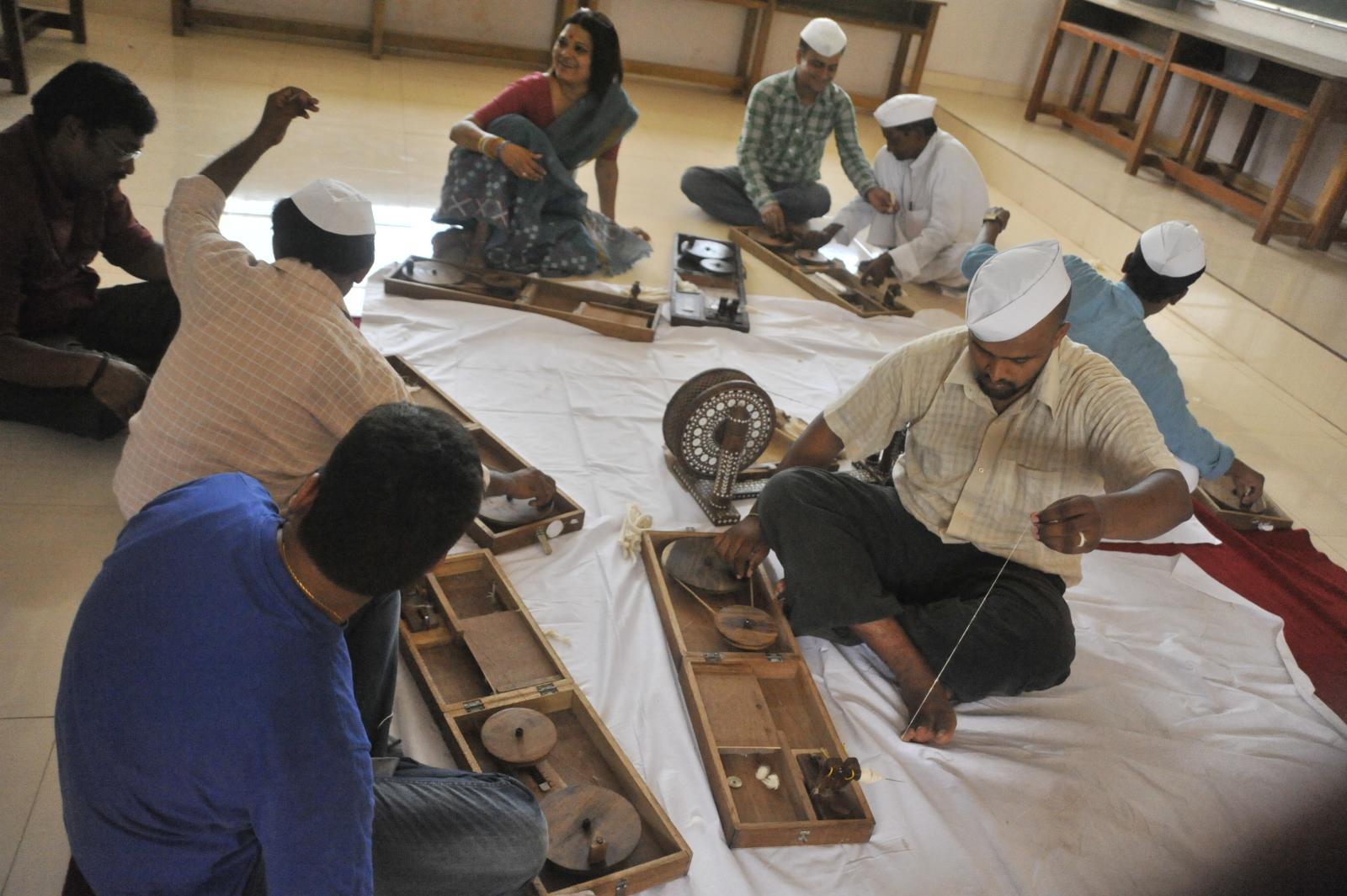Gandhi caps at work...spinning, Gandhi Smriti, Delhi