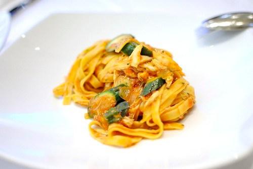 le fettuccine fettucine, jumbo lump crab, zucchini flowers, spicy tomato