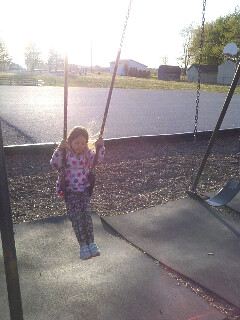 swinging all by herself...4 years old.