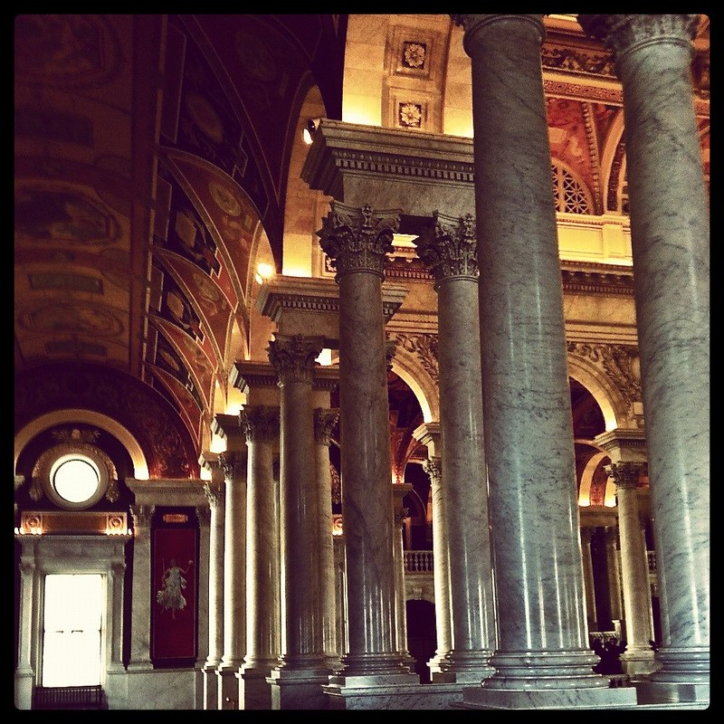 Columns & lovely ceiling art at the Library of Congress (Instagrammed photo)- February 2012